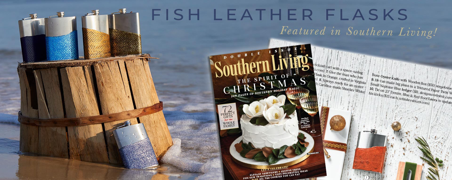 Fish Leather Flasks, as seen in Southern Living!