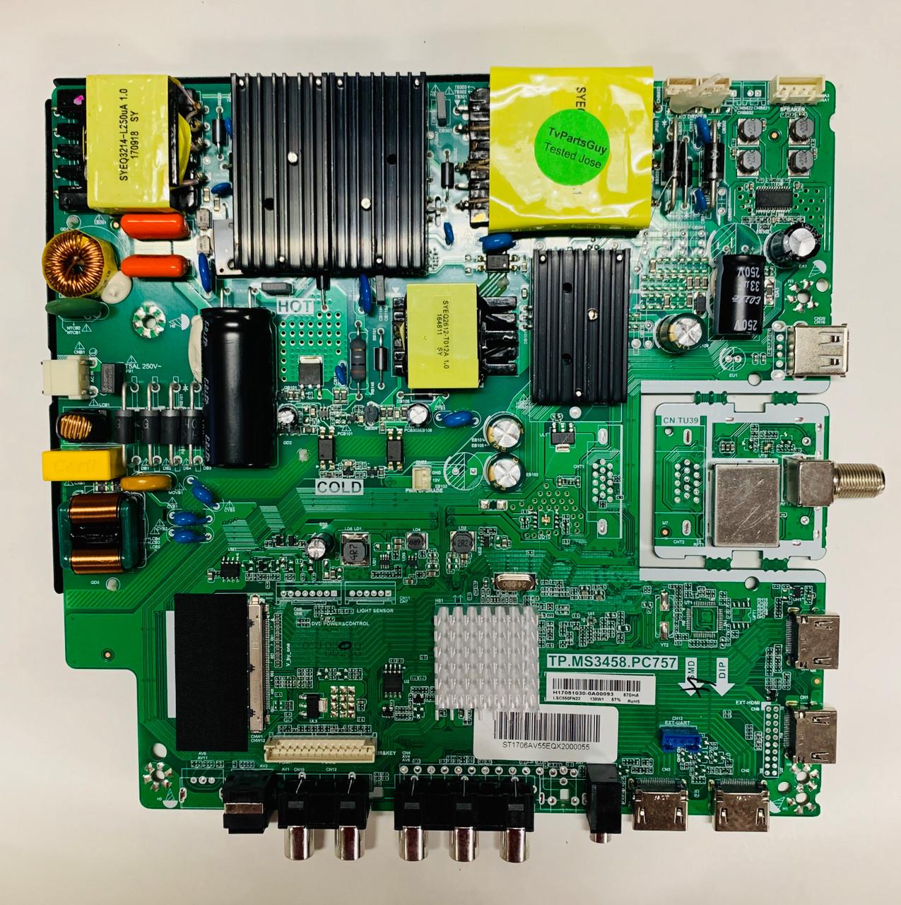 Avera 55EQX20 Main board TP.MS3458.PC757/ H17051030 - TvPartsGuy.com