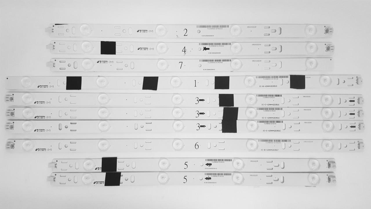 JVC EM42FTR LED Light Strips Complete set of 10 VZAA42D351 A/B/C/D/E/F/G