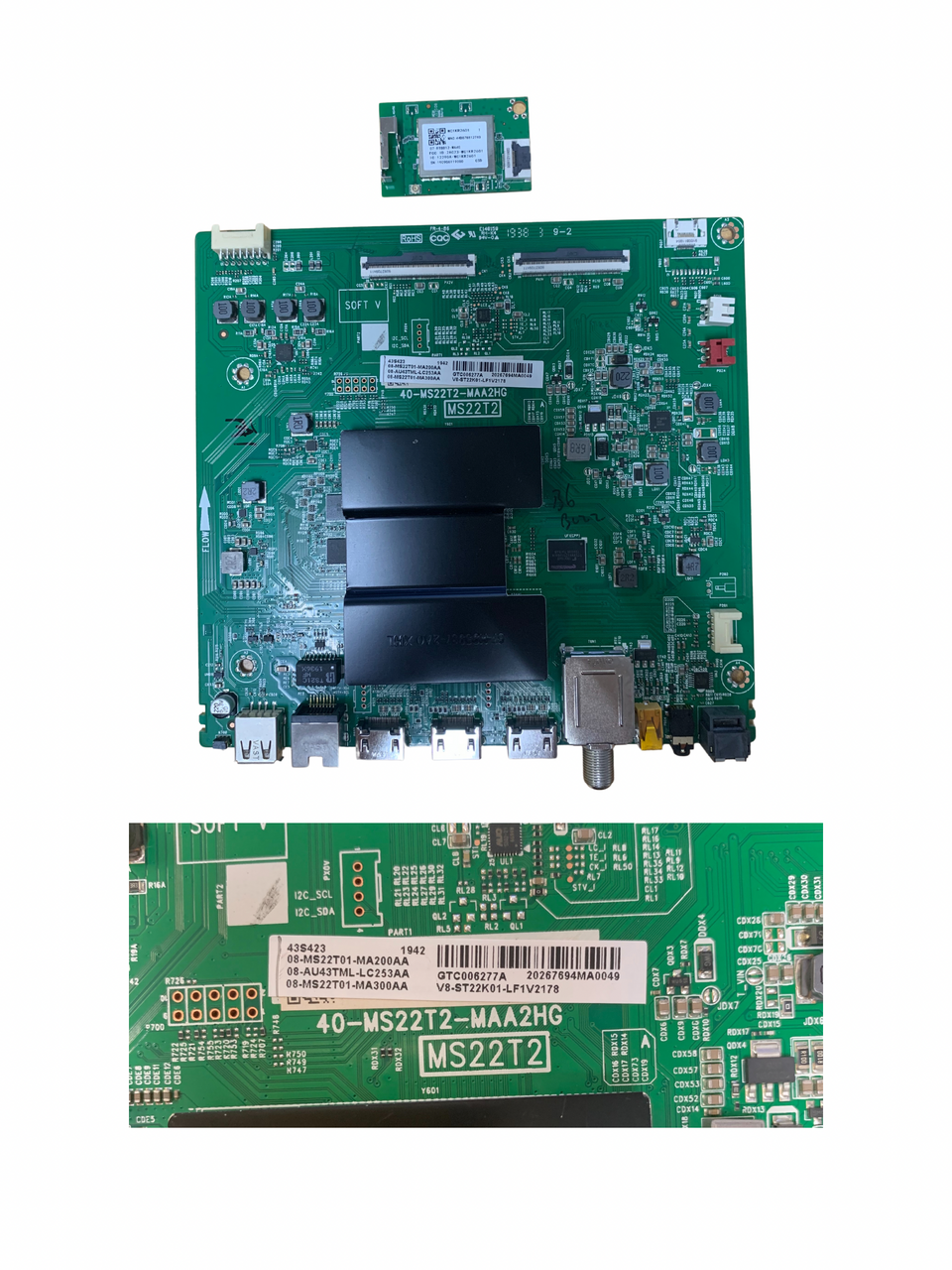 TCL 43S423 Main board & WIFI Module 40-MS22T2-MAA2HG / V8-ST22K01-LF1V2178 & 07-RT8812-MA4G