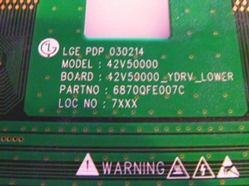 ZENITH  P42W34P LOWER SCAN DRIVE BOARD 6870QFE007C / 6871QDH052B