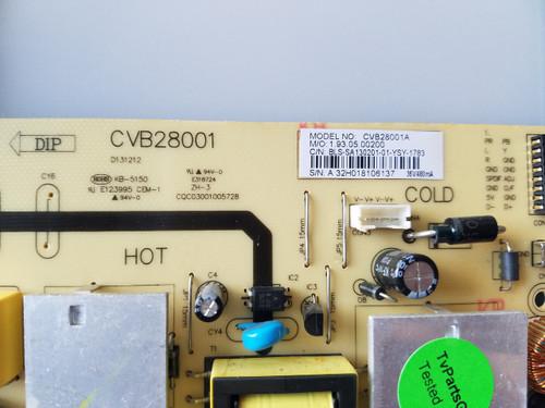 SEIKI SE28HY10 MAIN BOARD / POWER SUPPLY 32H0179A/CVB28001A / CVB28001, CQC03001005728, CV3393BH-BPW