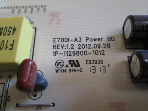 VIZIO E701I-A3 POWER SUPPLY BOARD- 09-70CAR000-00 / 1P-1129800-1012