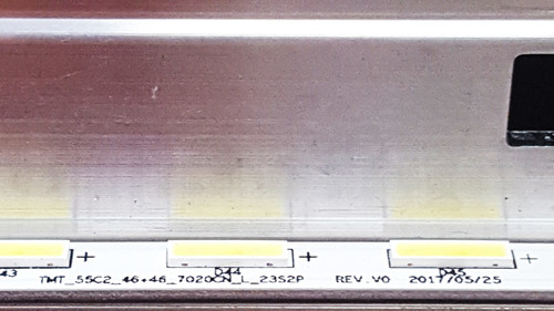TCL 55C803 LED Light Strips in metal casing TMT_55C2_46+46_7020CN_L_23S2P REV.V0 & TMT_55C2_46+46_7020CN_R_23S2P REV.V0 / YHE-4C-LB5546-YH08Q-210817-T47XXX