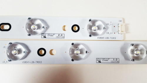 Toshiba / Philips / Sanyo LED Light strips complete set V580H1-LD6-TLDC2 & V580H1-LD6-TRDC2