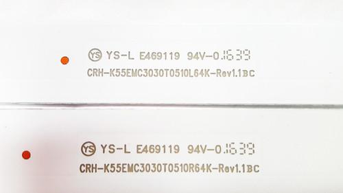 Sceptre U55 PCIV58CE LED Light Strips set of 10 CRH-K55EMC3030T0510L64K-REV1.1 & CRH-K55EMC3030T0510R64K-REV1.1