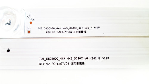 TCL 55S405T LED Light Strips Complete set of 8 TOT_55D2900_4X4+4X5_3030C_D6T-2D1_A/B_5S1P / 55D2900