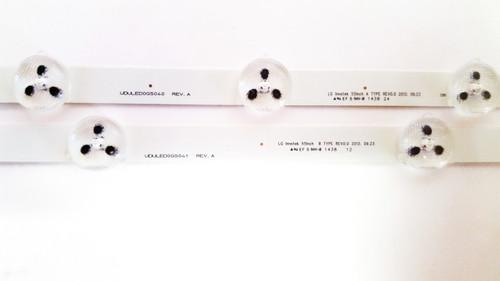 Magnavox 55ME314V/F7 LED Light Strips Complete set of 8 UDULED0GS040 & UDULED0GS041