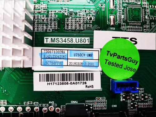 Sceptre W75  Main board & Tcon board set T.MS3458.U801 / 8142123342087 /  LSC750FF02 / 212001 & 18Y_75GU13BTSLG2V0.0 / LJ94-41082A