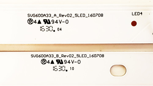 Vizio D60N-E3 LED Light Strips Complete Set of 12 SVG600A33 / 160708