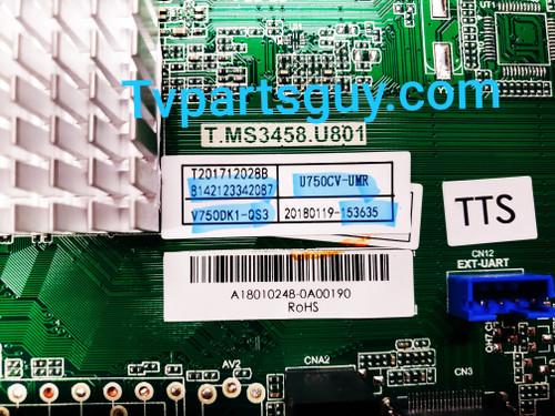 Sceptre W75  Main board & Tcon board set T.MS3458.U801 / 8142123342087 / U750CV-UMR & 6B01B0033V001