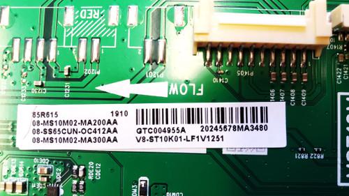 TCL 65R615 Main board & Tcon board set V8-ST10K01-LF1V1251 / LJ94-41735C
