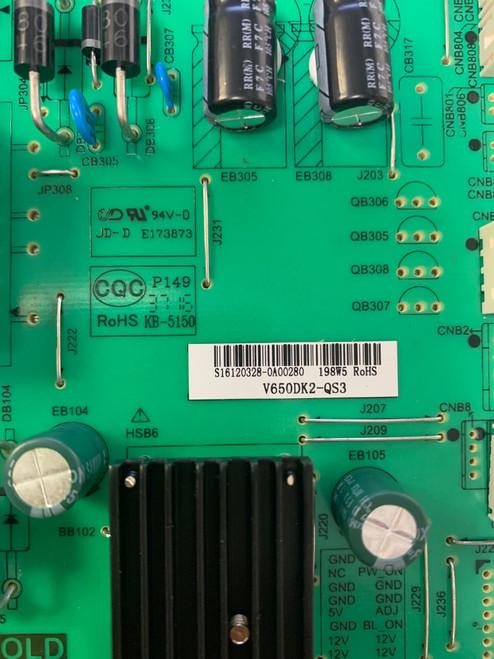 Polaroid 65GSR4100KN Power Supply board P.SWP.198HM.1 / S16120328