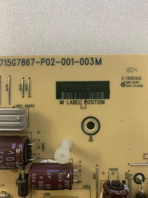 Sharp PN-Y496 Power Supply board 715G7867-P02-001-003M / GZA42GQAU