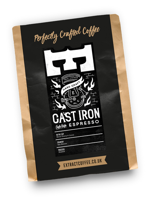 Cast Iron dark roast espresso coffee. Ethically sourced coffee from a single estate in Guatemala.