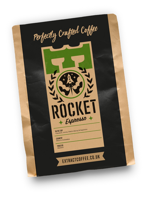 Rocket Espresso. Ethically Sourced speciality coffee from Colombia and Peru. Out of this world.