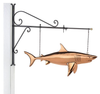 Hanging Shark Pure Copper Weathervane Sign with Decorative Bracket