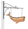 """Hanging 28"""" Whale Pure Copper Weathervane Sign with Decorative Bracket"""
