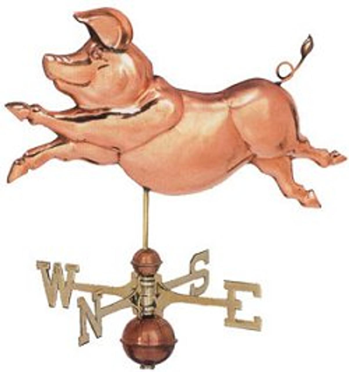 Weathervane - Polished - Jumping Pig
