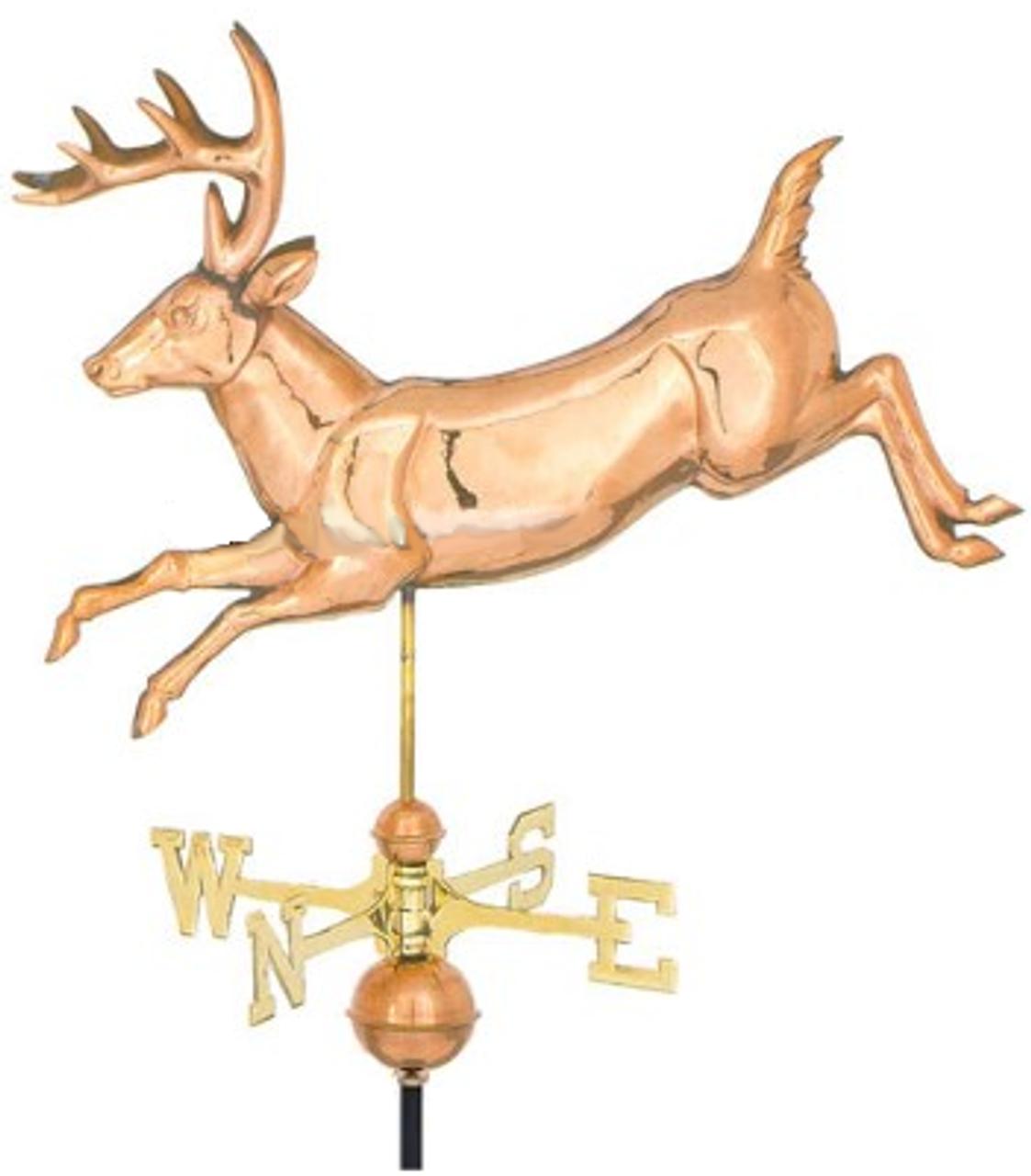 Weathervane - Polished - 3-D Jumping Deer