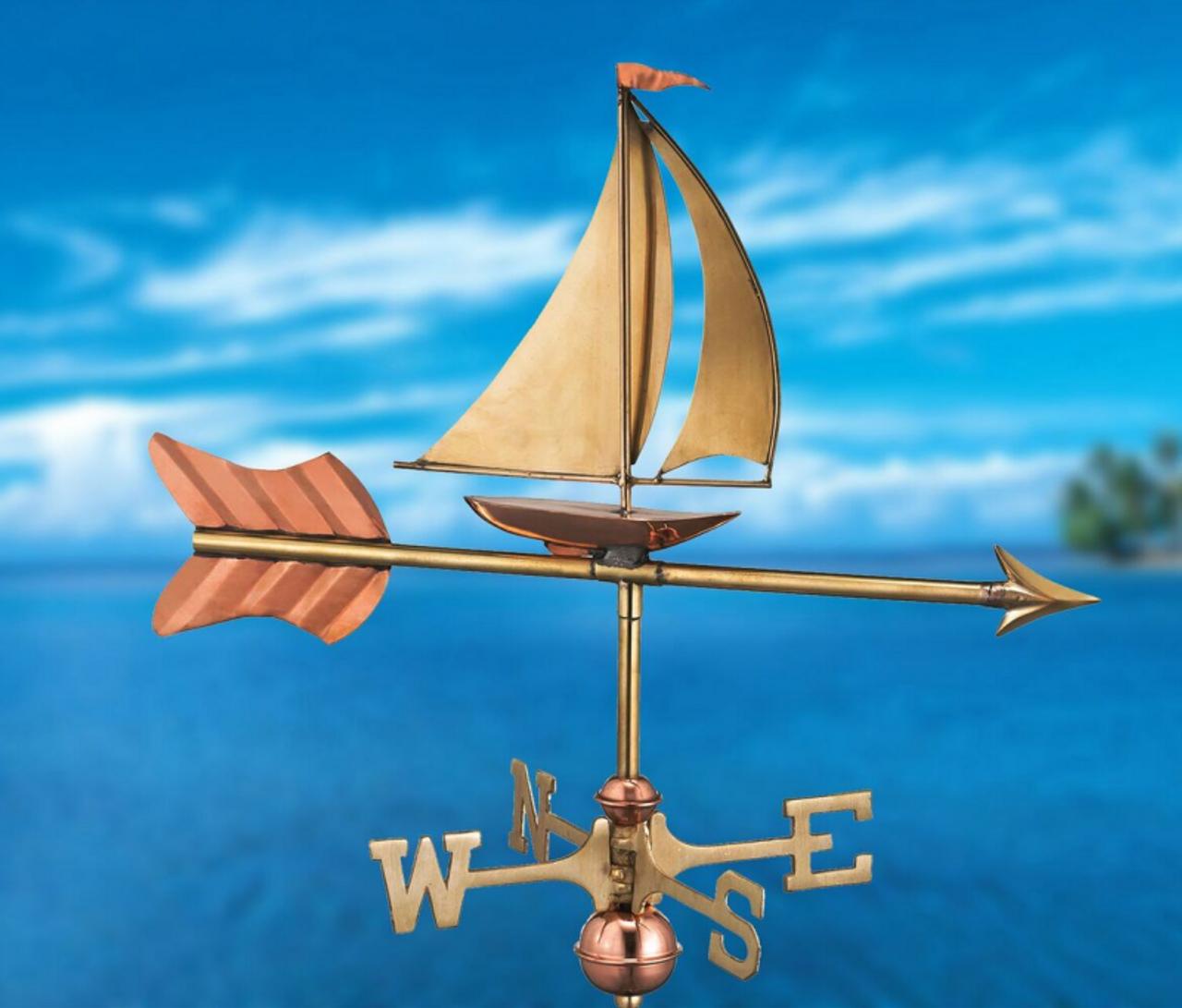 Weathervane - Sailboat Garden Size - Polished Copper