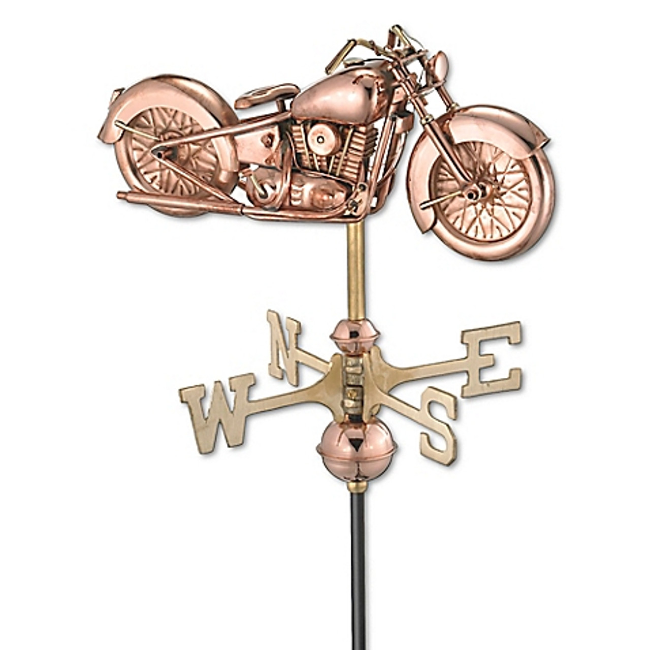 Weathervane - Motorcycle Garden Size - Polished Copper