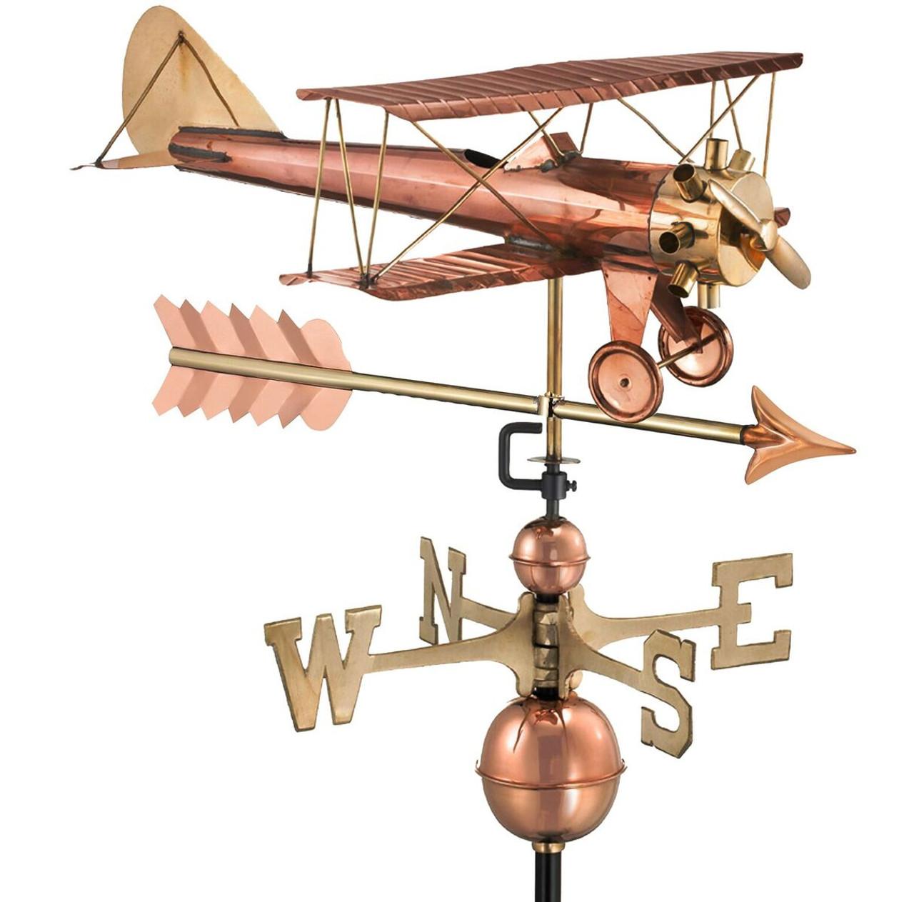 Biplane with Arrow Weathervane