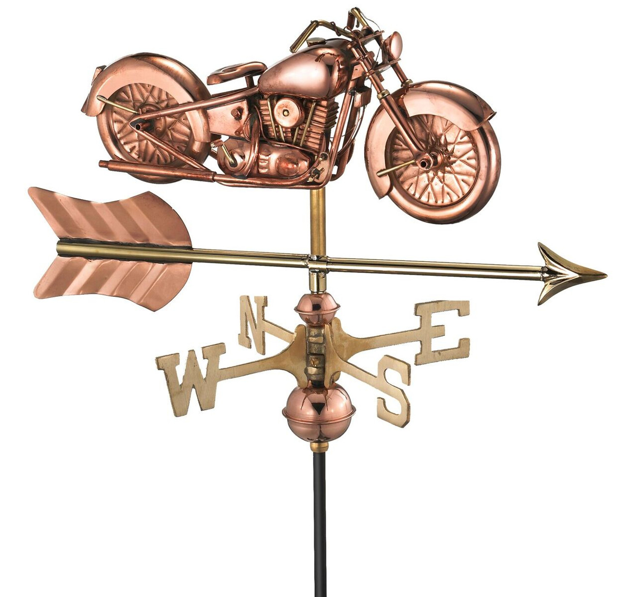 Motorcycle with Arrow Garden Weathervane (w/garden pole)