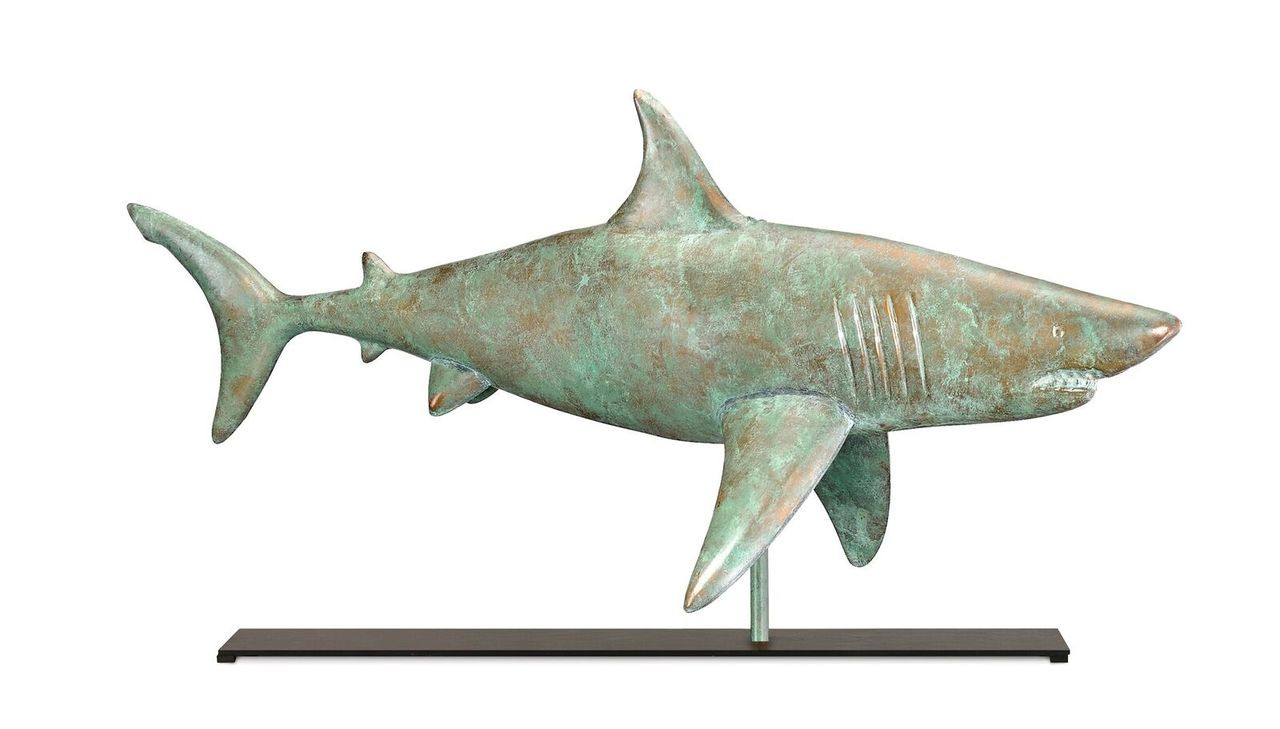 Shark in Blue Verde Copper Mantel Weathervane