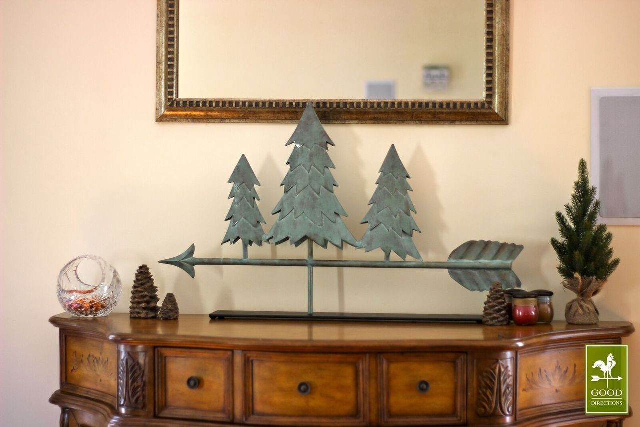 Pine Trees in Blue Verde Copper Mantel Weathervane