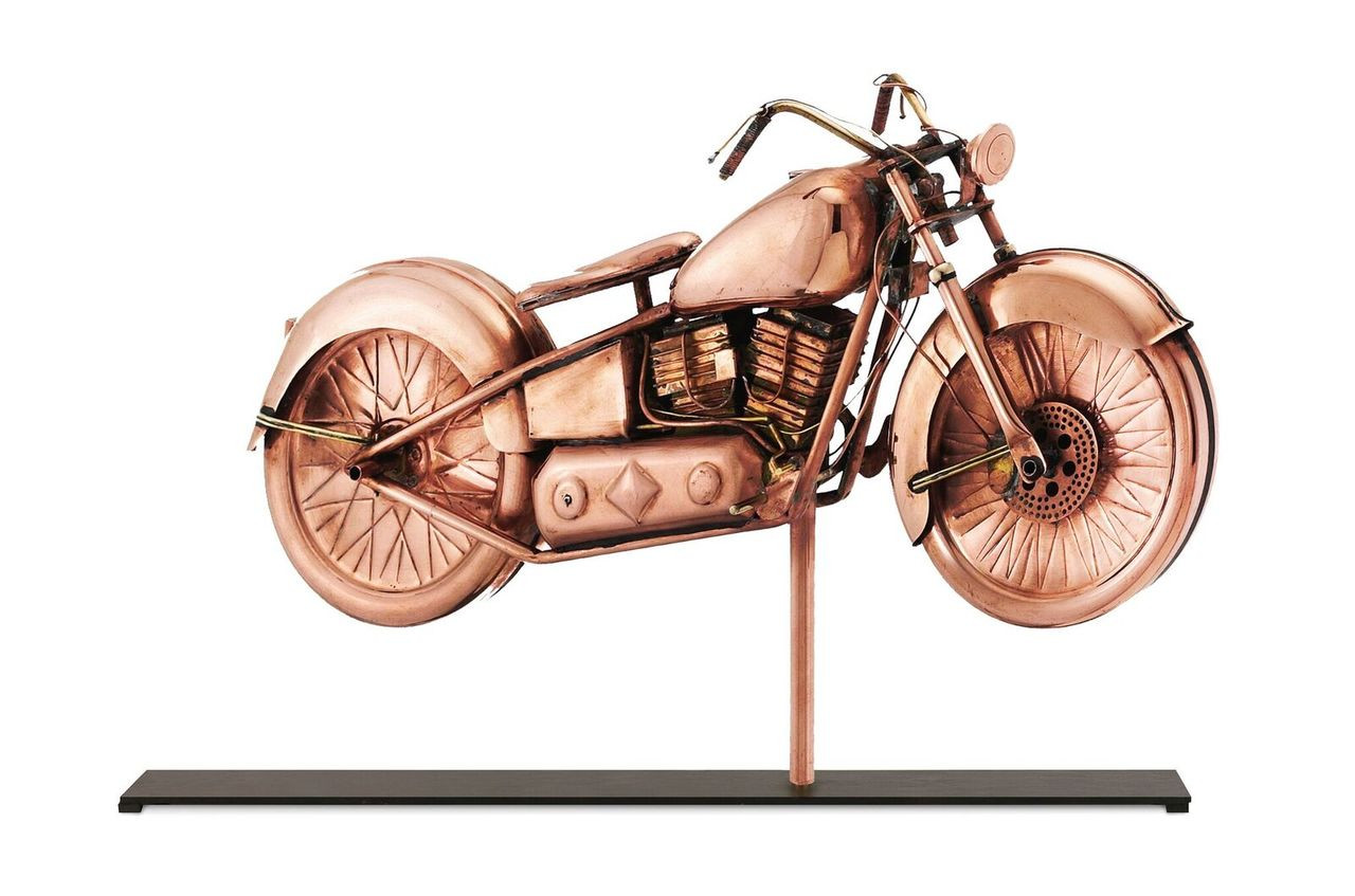 Motorcycle in Pure Copper Mantel Weathervane