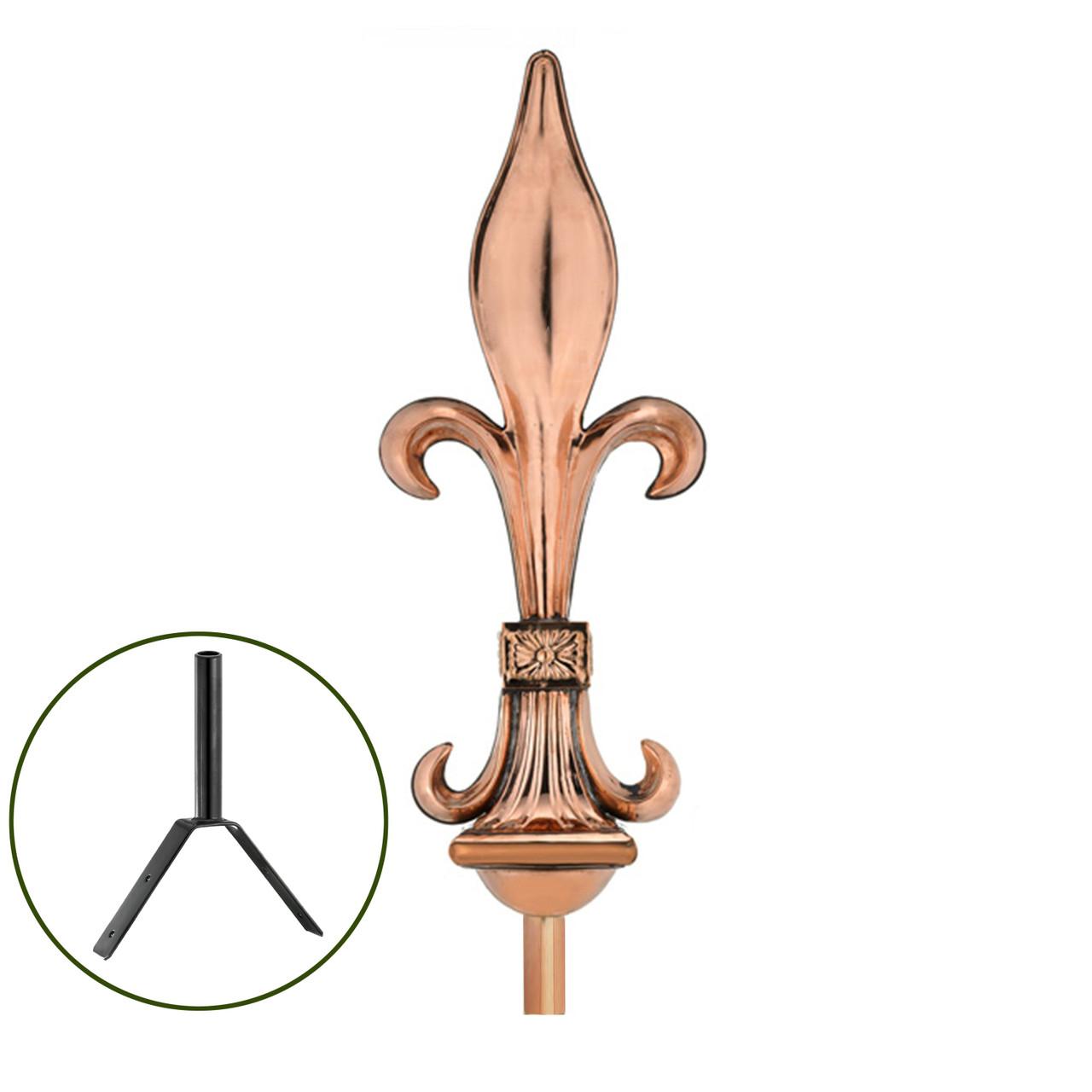 Fleur-De-Lis Polished Copper Rooftop Finial
