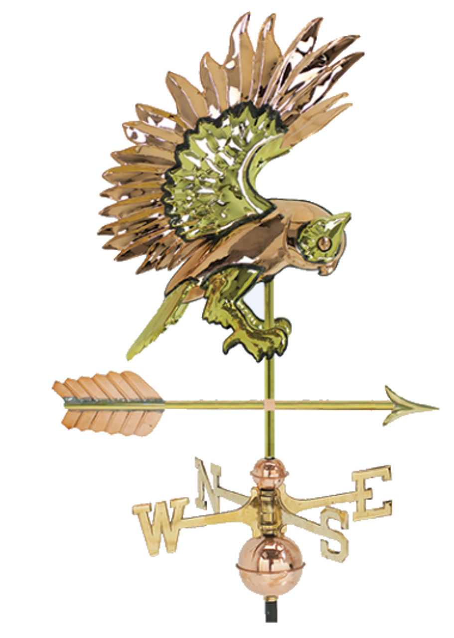 Weathervane - 3D Flying Owl in Brass and Copper