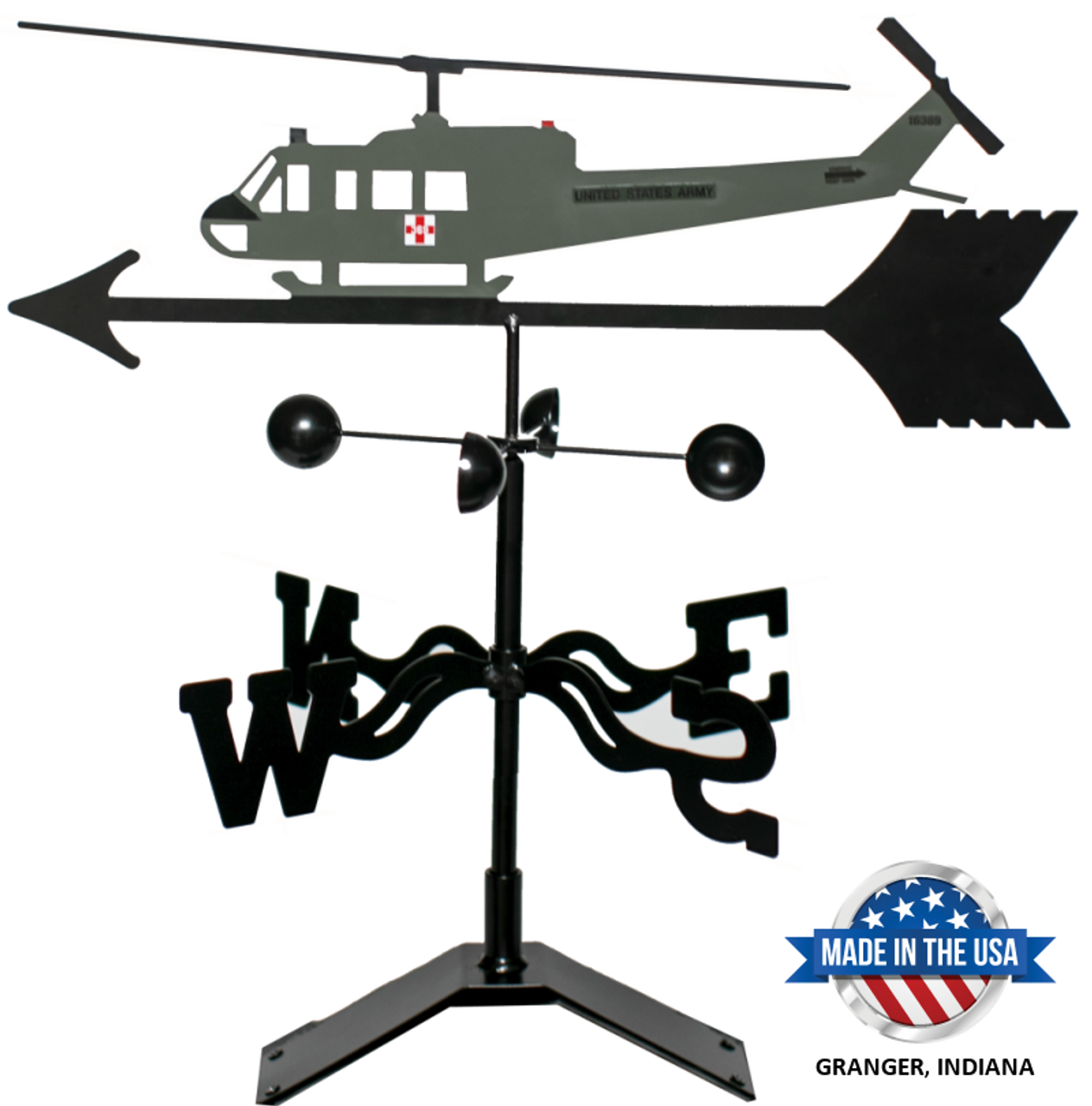 Bell UH-1 Huey Helicopter Weathervane With Mount (Green)