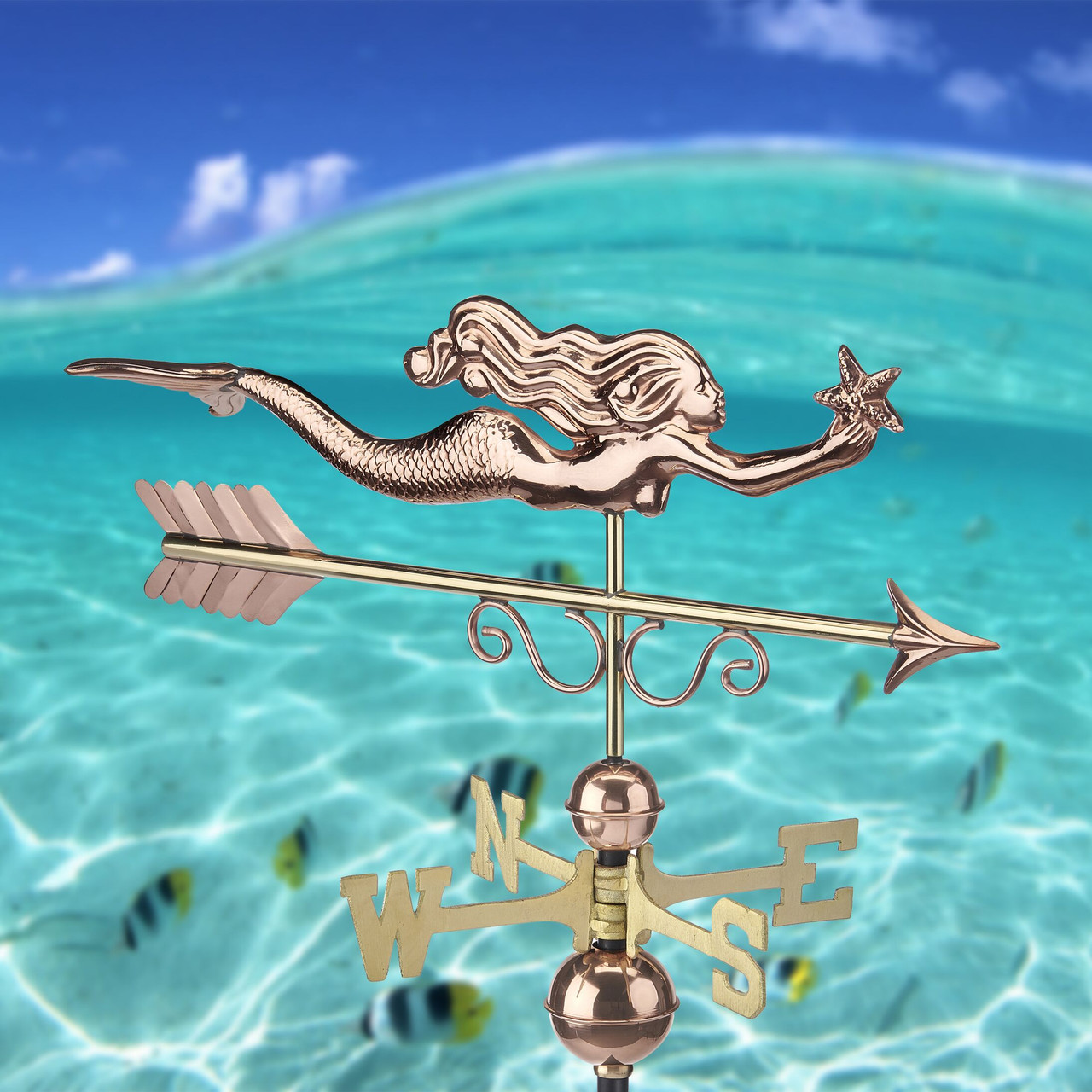 Little Mermaid Weathervane - Pure Copper by Good Directions