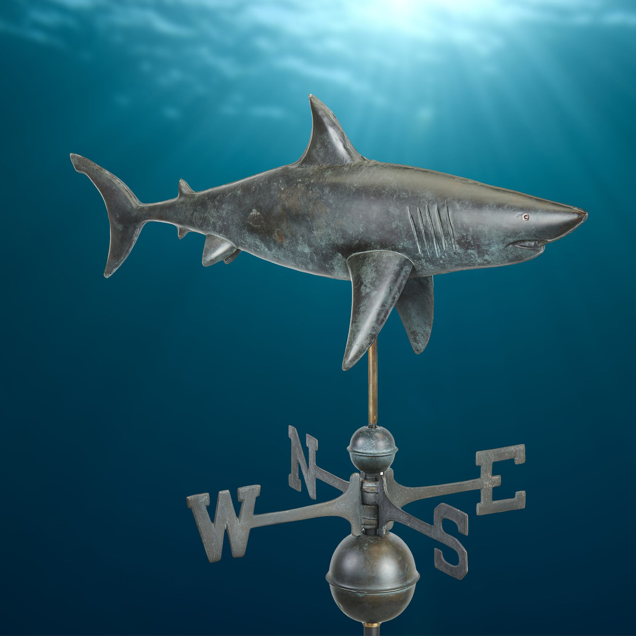 Shark Weathervane - Pure Copper Hand Finished Grey Patina by Good Directions