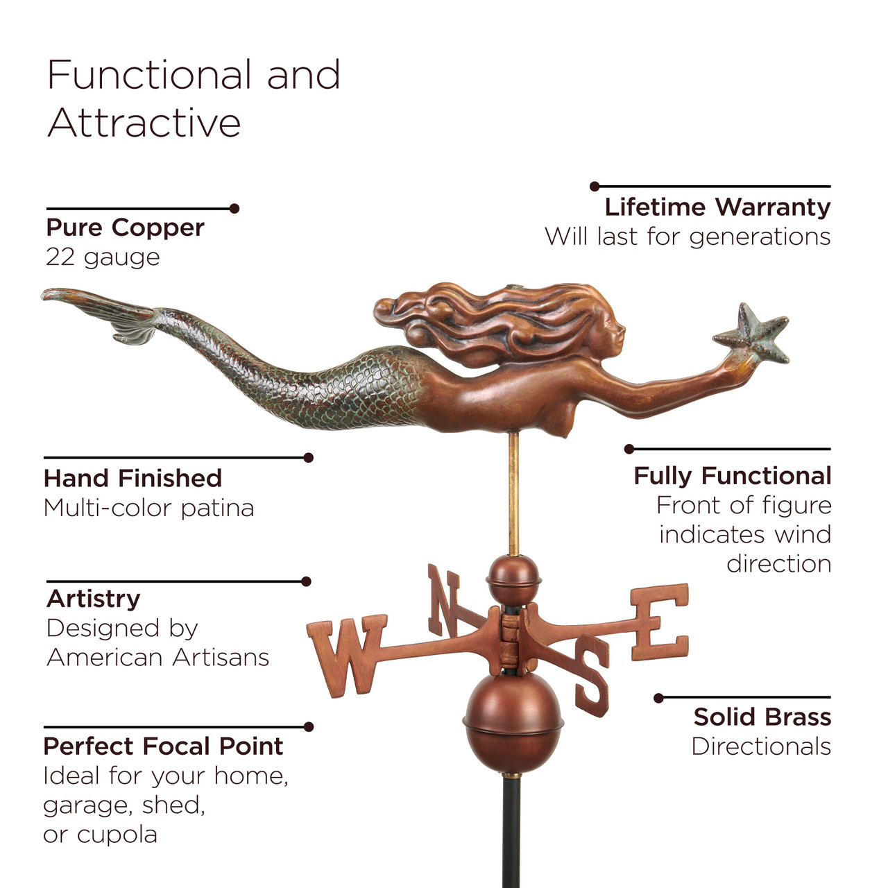 Mermaid with Starfish Weathervane -  Pure Copper Hand Finished Multi-Color Patina by Good Directions