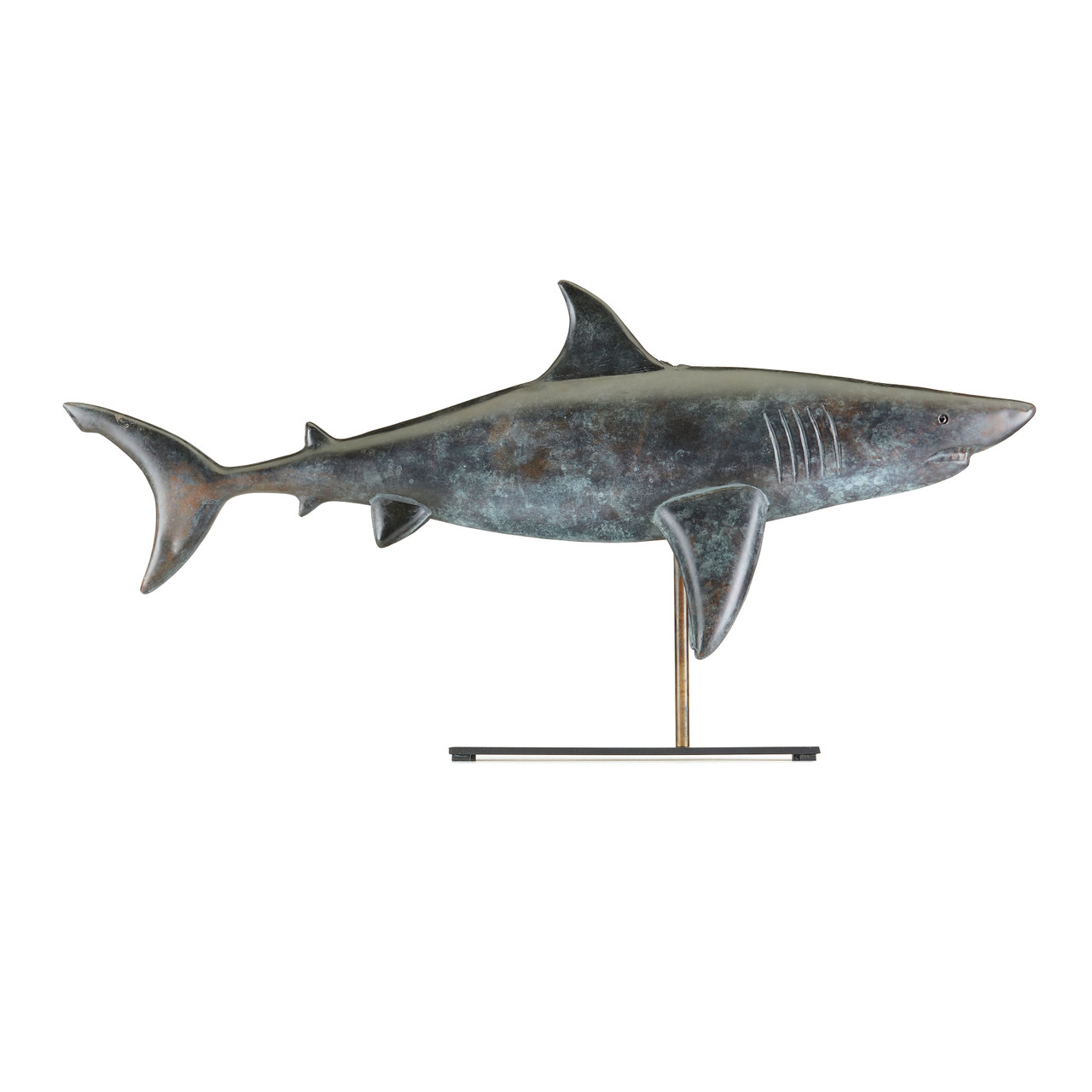 Shark Table Top Sculpture - Pure Copper Hand Finished Grey Patina, Nautical Home Décor by Good Directions