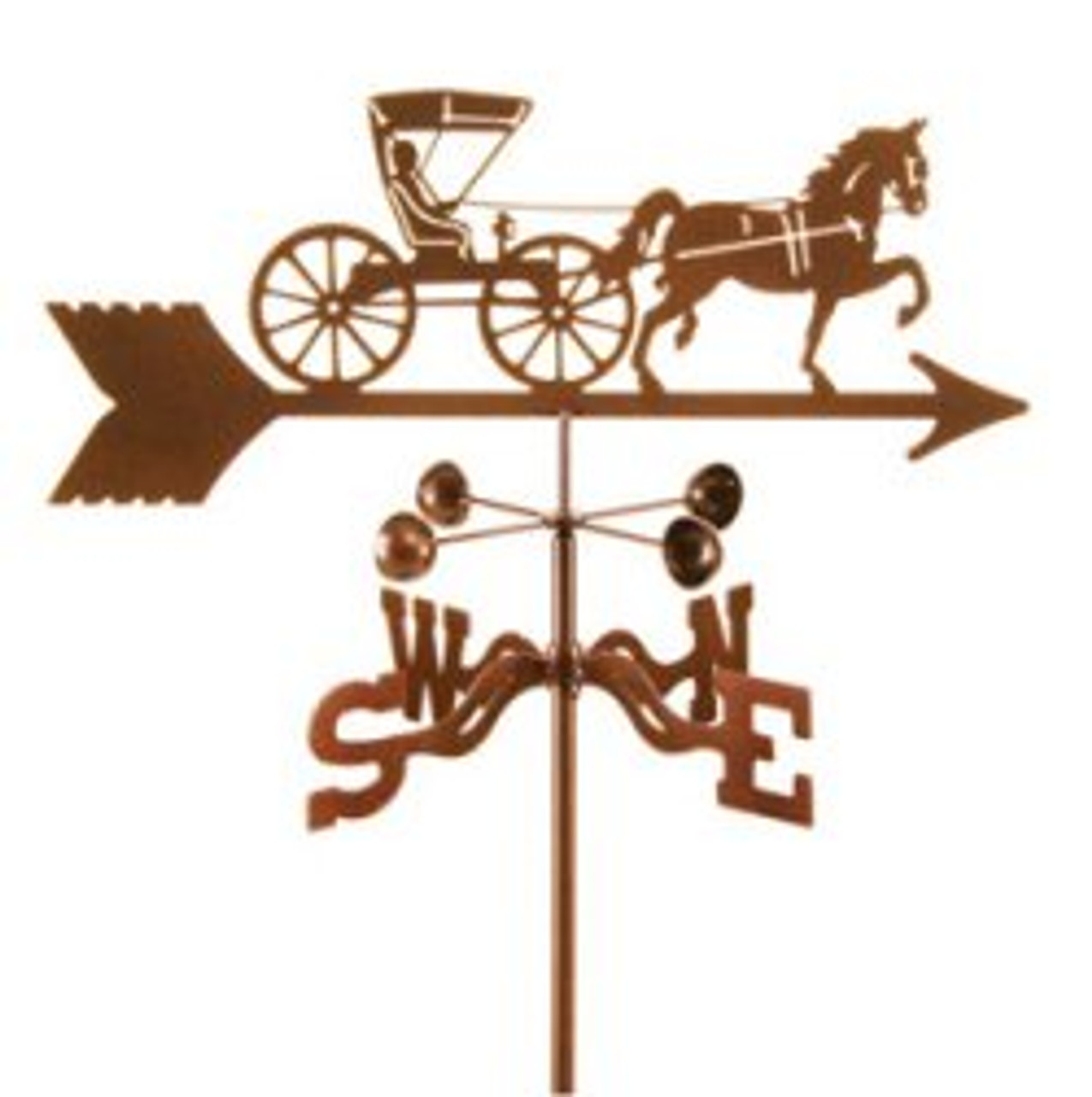 Horse-Horse and Doctor Buggy Weathervane With Mount