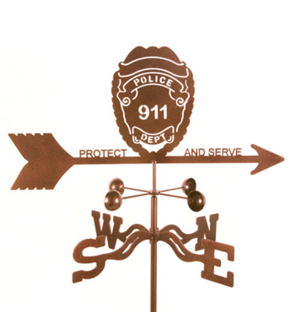 Police Badge Weathervane With Mount