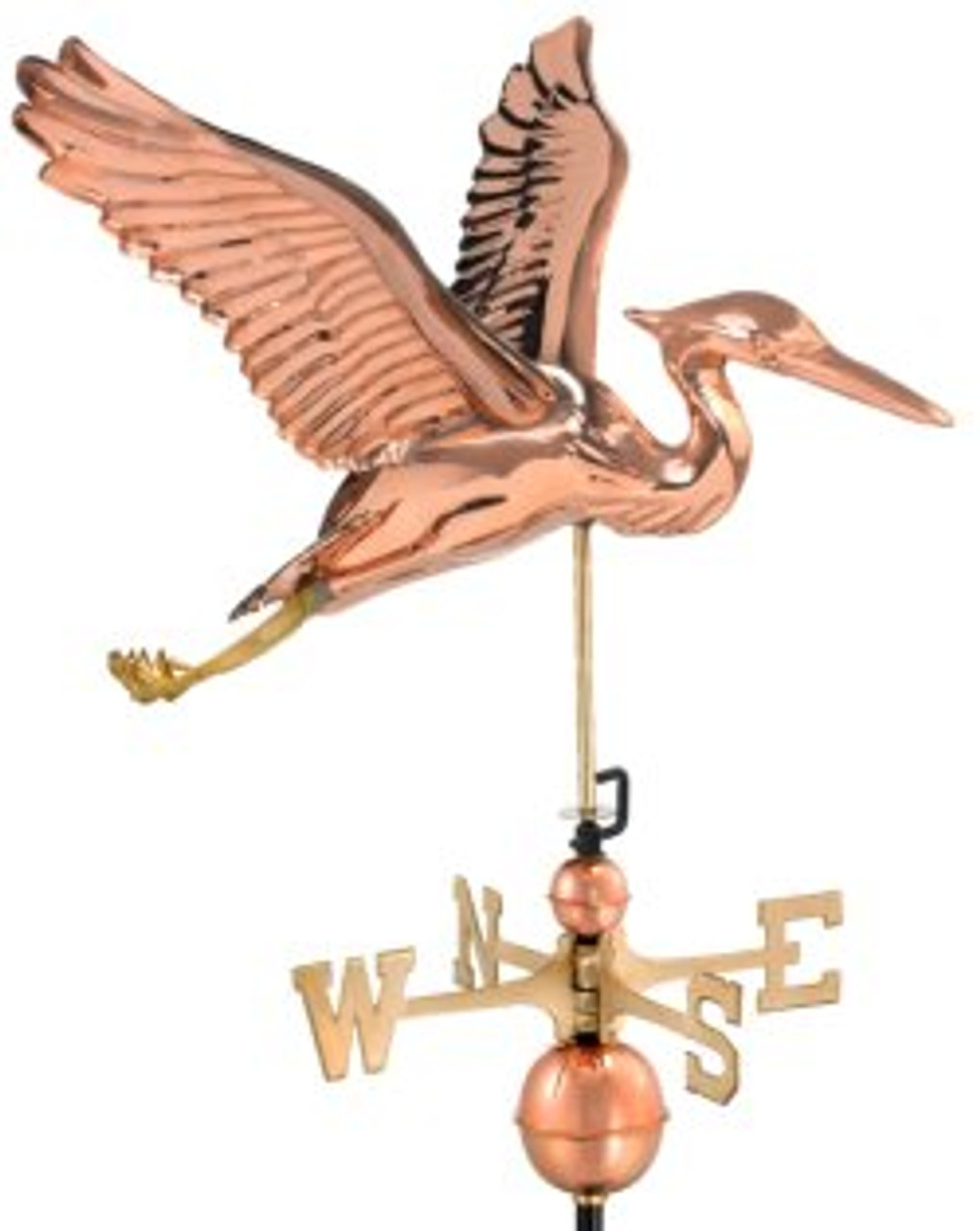 Good Directions Blue Heron Weathervane - Polished Copper