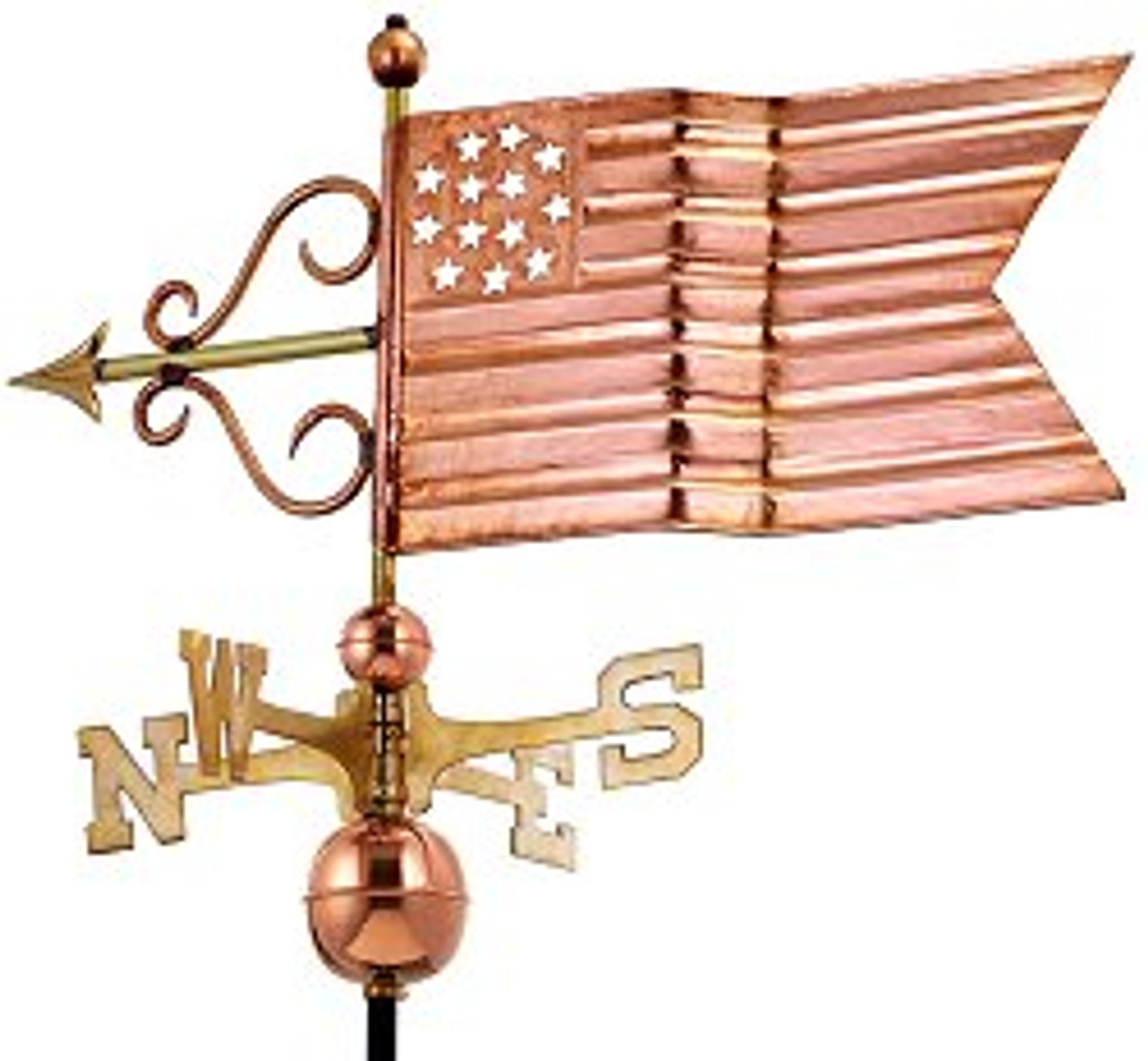 Good Directions American Flag Weathervane - Polished Copper