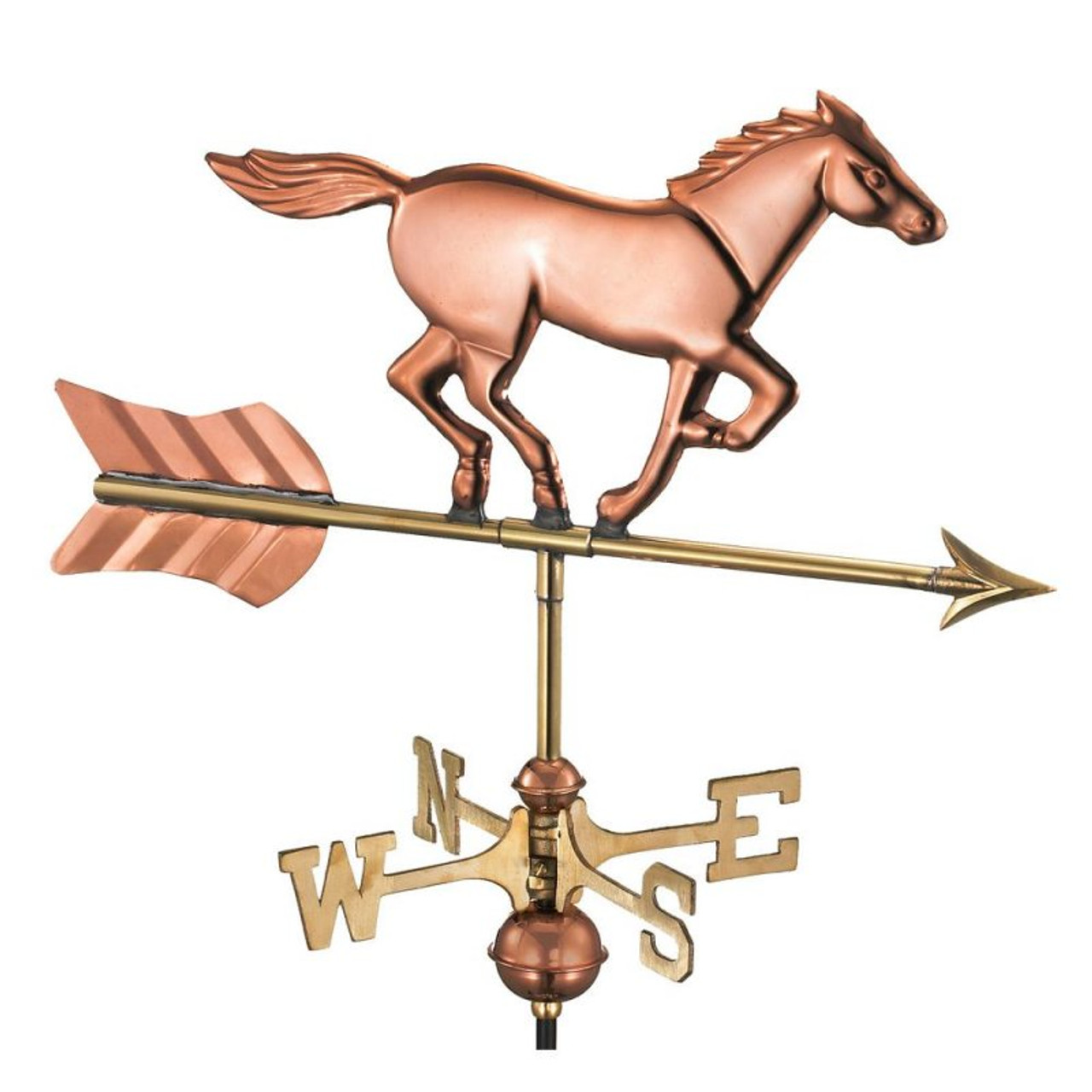 Weathervane - Horse - Polished Copper With Mount