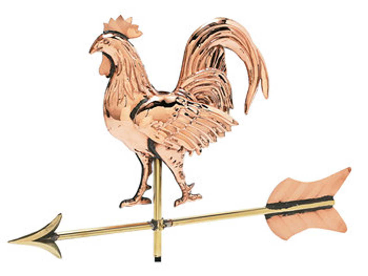 3-D Rooster Weathervane W/Arrow - Polished - Cottage