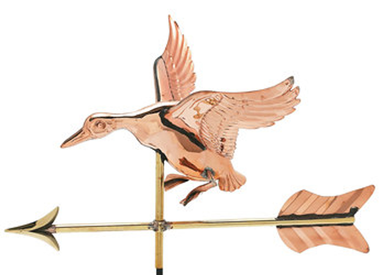 Weathervane - Polished - Cottage 3-D Landing Duck w/ Arrow