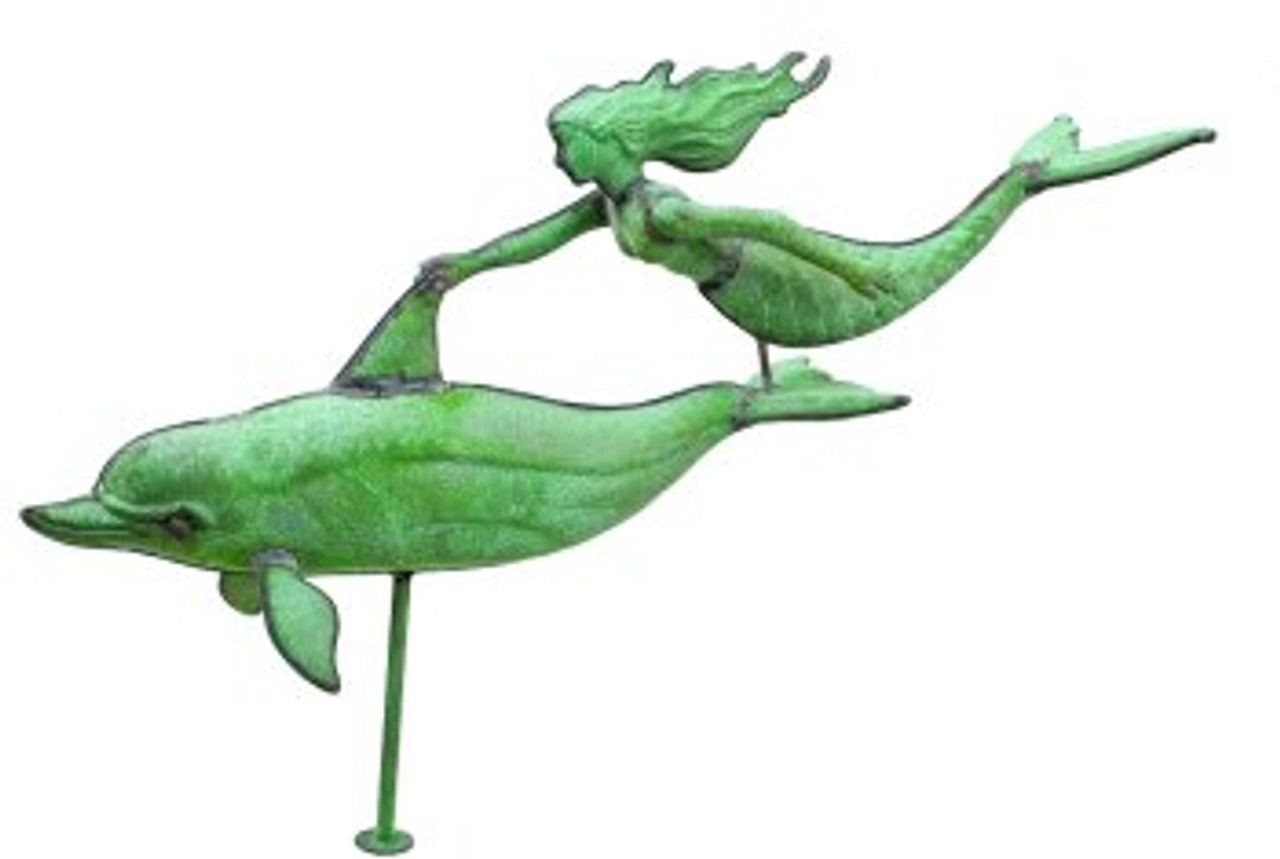 Weathervane - Antiqued Dolphin W/ Mermaid