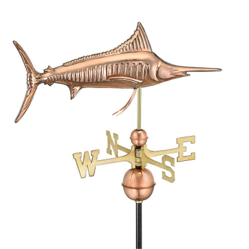 Good Directions Marlin Weathervane - Polished Copper