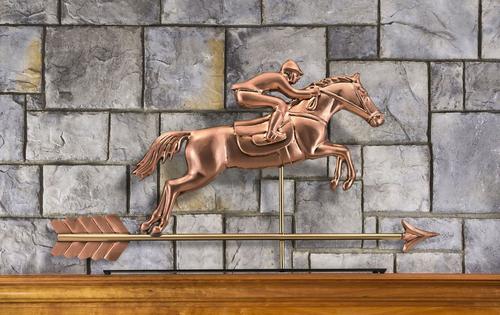 Jumping Horse & Rider Mantel Weathervane