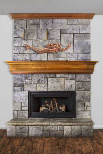 Mermaid with Starfish Pure Copper Weathervane Sculpture on Mantel Stand
