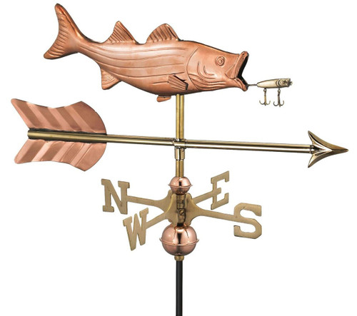 Bass with Lure and Arrow Cottage Weathervane